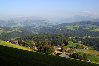Röthenbach im Emmental - View from the Chuderhüsi observation tower above Würzbrunnen