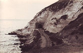 Rosh HaNikra grottoes - The former British Cairo-Istanbul railway tunnel photographed in 1964.
