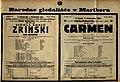 Plakat za predstavi Nikola Šubič Zrinski ban hrvatski in Carmen v Narodnem gledališču v Mariboru 1. decembra 1924.jpg