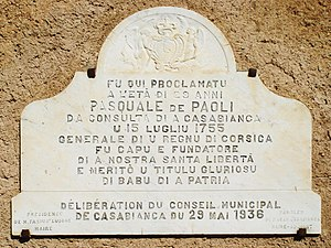 Pasquale Paoli - Commemorative plaque to Paoli at the monastery of Saint Anthony of Casabianca.