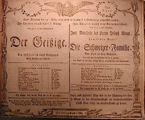 Die Schweizer Familie - Playbill Vienna, March 14th, 1809