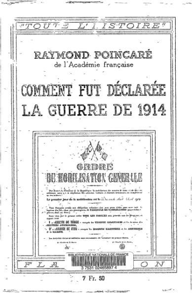 File:Poincaré - Comment fut déclarée la guerre de 1914, Flammarion, 1939.djvu