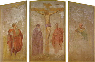 Tryptych of the crucifixion of Christ