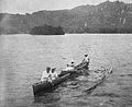 Port Lottin, Kusaie Island, Caroline Islands, Natives and native canoe (1899-1900).jpg