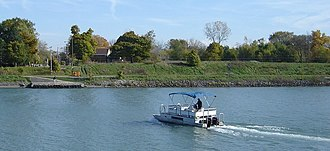 Port Robinson, Ontario - The Port Robinson ferry approaches the east bank of the Welland Canal.