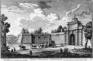 Porta San Pancrazio - Porta San Pancrazio in the 18th century(etching by Giuseppe Vasi)