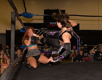 Portia Perez - Perez hitting a dropkick on a seated Veda Scott