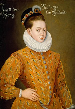 "Castalian Band - James VI in 1585, aged 19. The ""Danish portrait""."