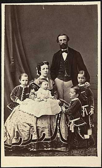 Sophia of Nassau - A photograph of Crown Princess Sofia of Sweden with her husband, Crown Prince Oscar and their sons (Gustaf, Oscar Bernadotte, Carl and Eugén), 1865.