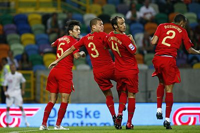 Portuguese defensive wall (from left to right: Ferreira, Pepe, Ricardo Carvalho and Jose Bosingwa) Portugal 2-3 Denmark.jpg