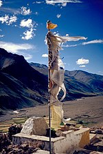 Prayer flag in the Kurgiakh valley in Zanskar