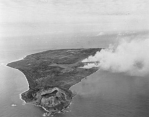 109th Division (Imperial Japanese Army) - The volcanic island of Iwo Jima being bombarded before its invasion