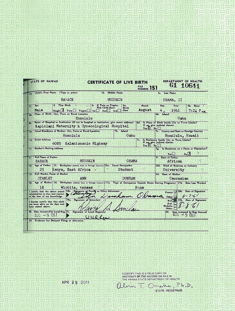 President Barack Obama%27s long form birth certificate