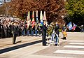 President Barack Obama, center, and Sgt. 1st Class Tanner Welch, center right, a sergeant of the guard assigned to the 3rd U.S. Infantry Regiment (The Old Guard), lay a wreath at the Tomb of the Unknowns 131111-A-KF670-262.jpg