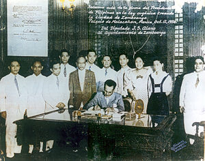 President Quezon signing the Zamboanga City Charter at the Malacañang Palace on October 12, 1936