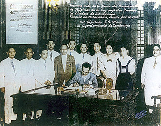 Zamboanga City - President Manuel L. Quezon signing the City Charter of Zamboanga in a ceremony held at the Malacañang Palace in (1936)
