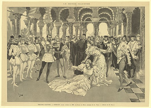 Press illustration by A de Parys of a 1894 performance in Paris of the opera Otello by Verdi - Gallica 2016.jpg