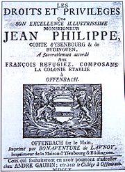 Privilegien Hugenotten Offenbach am Main 1705 gedruckt 1710