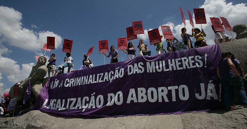 Pro choice feminists in Sao Paulo