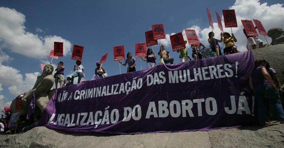 Pro choice feminists in Sao Paulo