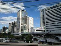 Promena Kobe Building and Kobe Harborland Center Building from platform of Kobe Station.JPG