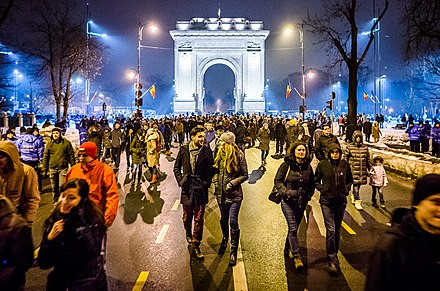 Romania has seen large waves of protests against judicial reforms during the 2017-2019 Romanian protests. Protest against corruption - Bucharest 2017 - Arcul de Triumf - 2.jpg