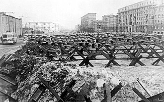 Moscow Defence Zone - Barricades on a Moscow street, in autumn-winter of 1941.