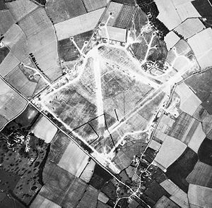 RAF Alconbury - Aerial photograph of Alconbury airfield shortly after the USAAF assumed jurisdiction of the facility.  This shows the extent of the construction performed by the Air Ministry before the USAAF takeover.  Note the B-24 Liberators of the 93d Bomb Group are parked on the runway.