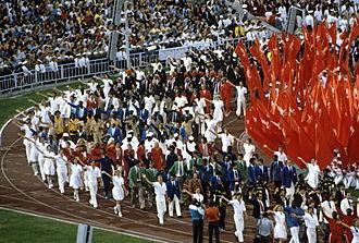 1980 Summer Olympics closing ceremony - The athletes entering the stadium. RIAN photo.