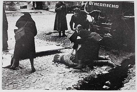 Nurses helping wounded people during a German bombardment on 10 September 1941 RIAN archive 888 Nurses helping people wounded in the first bombardment in Leningrad.jpg