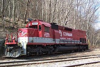 R.J. Corman Railroad Group - An R.J. Corman EMD SD40T-2 locomotive in West Virginia.