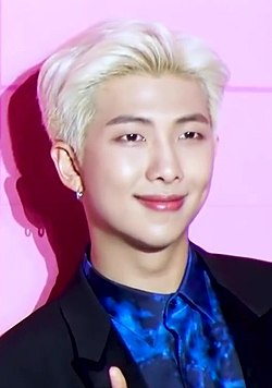 "RM at ""Map of the Soul - Persona"" global press conference, 17 April 2019.jpg"
