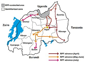 Map showing the advance of the RPF during the Rwandan genocide of 1994