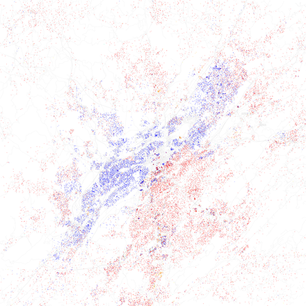 Map of racial distribution in Birmingham, 2010 U.S. Census. Each dot is 25 people: White, Black, Asian, Hispanic or Other (yellow) Race and ethnicity 2010- Birmingham (5559862755).png