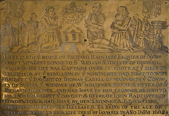 Flixton, Greater Manchester - The Radclyff Brass, now in St Michael's Church. Richard Radclyff lived at Newcroft Hall in nearby Urmston.