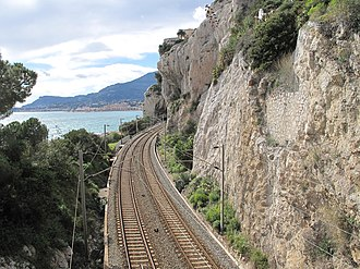 Transport in Italy - The Marseille-Vintimille railway line in Ventimiglia, near the French border