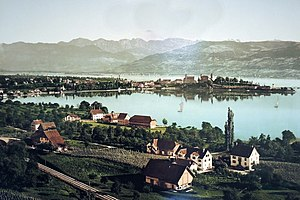 Lindenhof (Rapperswil) - Lindenhof as seen from Kempraten on a photochrome of 1899