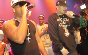 Red Café - Red Cafe (left) performing with French Montana in 2012.
