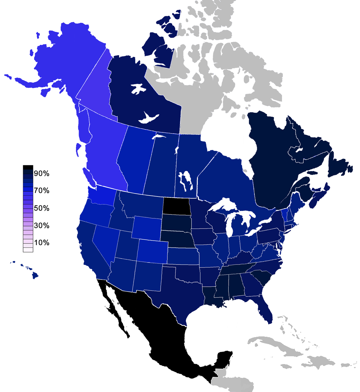 Irreligion In Canada Wikipedia - Atheist map of the us
