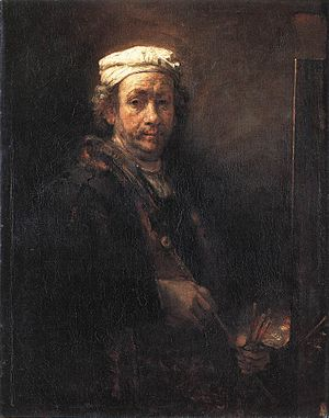 Self-Portrait with Two Circles - Rembrandt. Self Portrait at the Easel, 1660. Oil on canvas, 110.9 × 90.6 cm. Louvre. Here, too, the artist is seen at work, wearing a white cap.