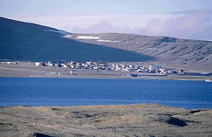 High Arctic relocation - View over Resolute Bay of the modern Inuit community (1997)