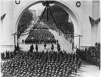 Depression of 1920–21 - A 1919 parade in Washington, D.C. for soldiers returning home after World War I.  The upheaval associated with the transition from a wartime to peacetime economy contributed to a depression in 1920 and 1921.