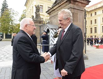 Miloš Zeman - Zeman meets with Israeli President Reuven Rivlin in Prague, 21 October 2015