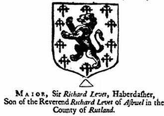 Richard Levett - Coat of arms of Lord Mayor Richard Levett. Stype's Survey of London, 1720