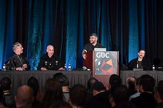 Ultima Online - Garriott (left), Long, Koster, and Rich Vogel at the 2018 Game Developers Conference