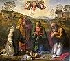 Ridolfo del ghirlandaio, adorazione del bambino coi santi francesco e girolamo.JPG