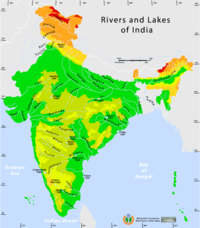 Rivers and lakes topo map