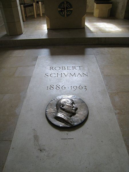 Robert Schuman's grave, fortified church Saint-Quentin, Scy-Chazelles, France