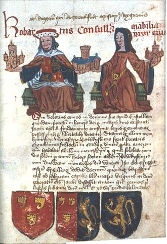 "Robert, 1st Earl of Gloucester - Robartus Consull et Mabilia uxor eius (""Robert Consul and Mabel his wife""). They are shown holding churches or abbeys which they founded or were benefactors of, including Tewkesbury Abbey. The attributed arms shown quartered on his tabard and  below are: Left: Gules, three clarions or (de Clare, Earl of Gloucester); Centre: Gules, three clarions or (de Clare, Earl of Gloucester) impaling Azure, a lion rampant guardant or (FitzHamon); Right: Azure, a lion rampant or. Tewkesbury Abbey Founders Book (c.1500-1525), Bodleian Library, Oxford"