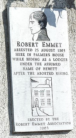 Photo of Robert Emmet white plaque